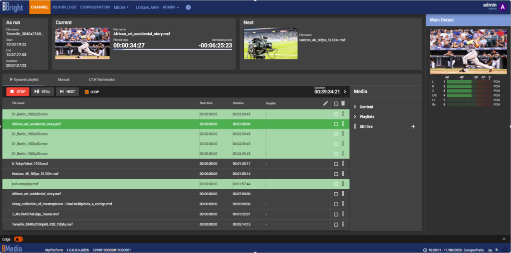 BMedia Production Server gui